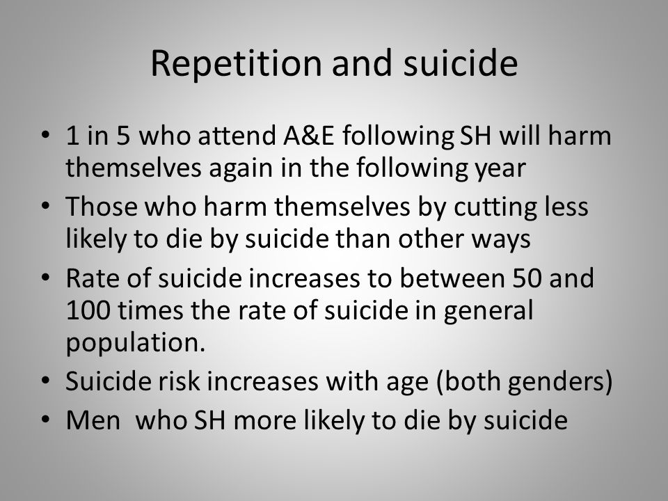 Repetition and suicide 1 in 5 who attend A&E following SH will harm themselves again in the following year Those who harm themselves by cutting less likely to die by suicide than other ways Rate of suicide increases to between 50 and 100 times the rate of suicide in general population.