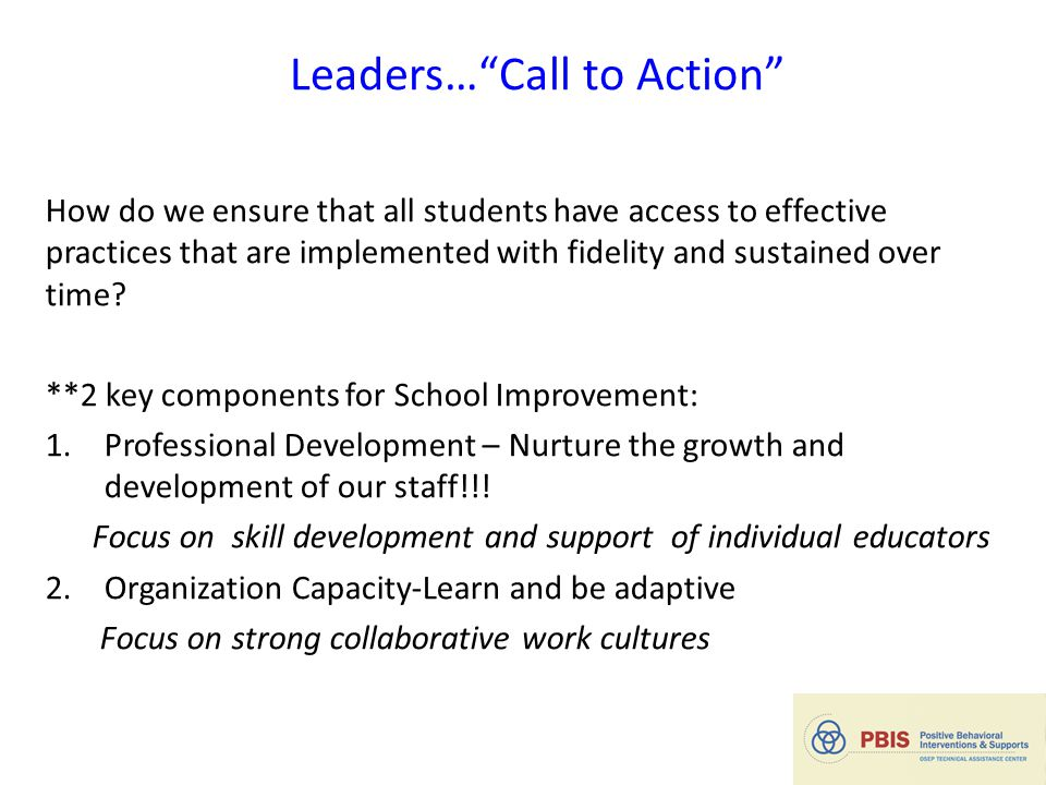 Leaders… Call to Action How do we ensure that all students have access to effective practices that are implemented with fidelity and sustained over time.