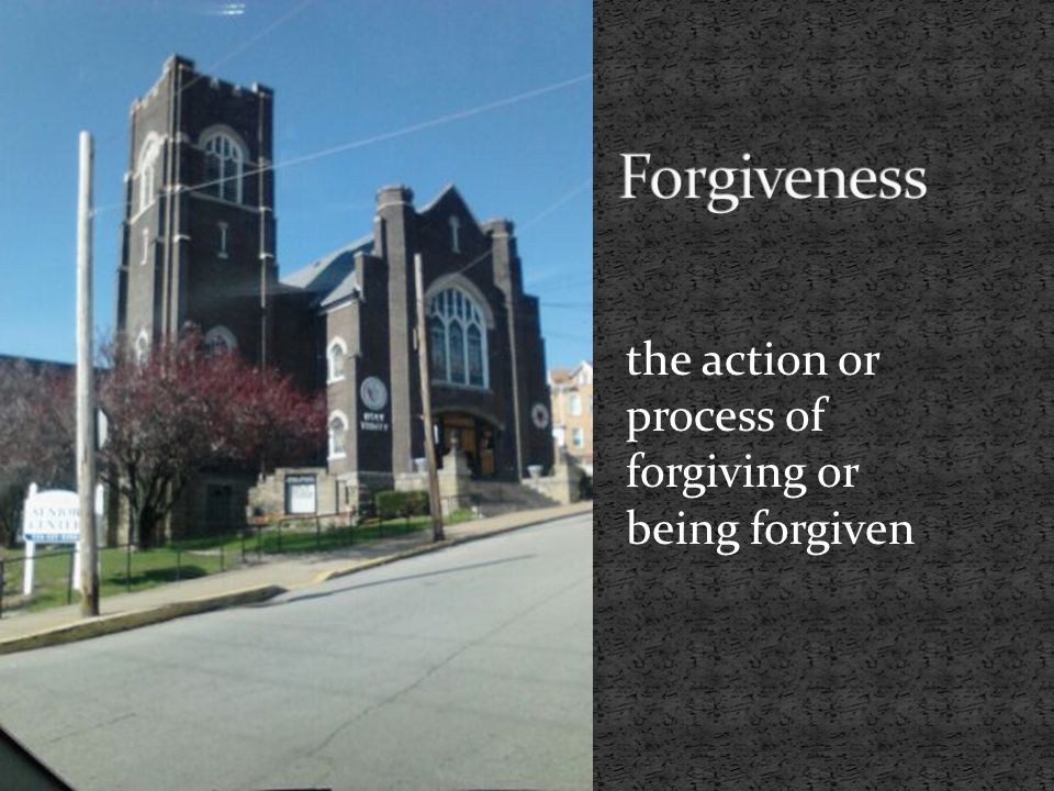 the action or process of forgiving or being forgiven