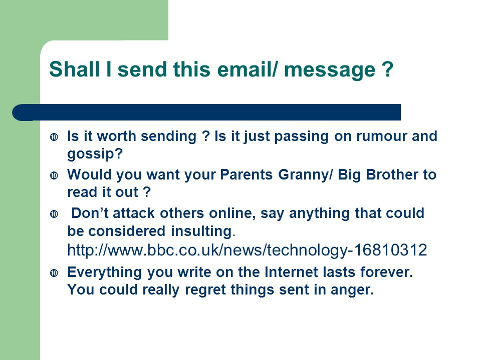 Shall I send this email/ message .  Is it worth sending .
