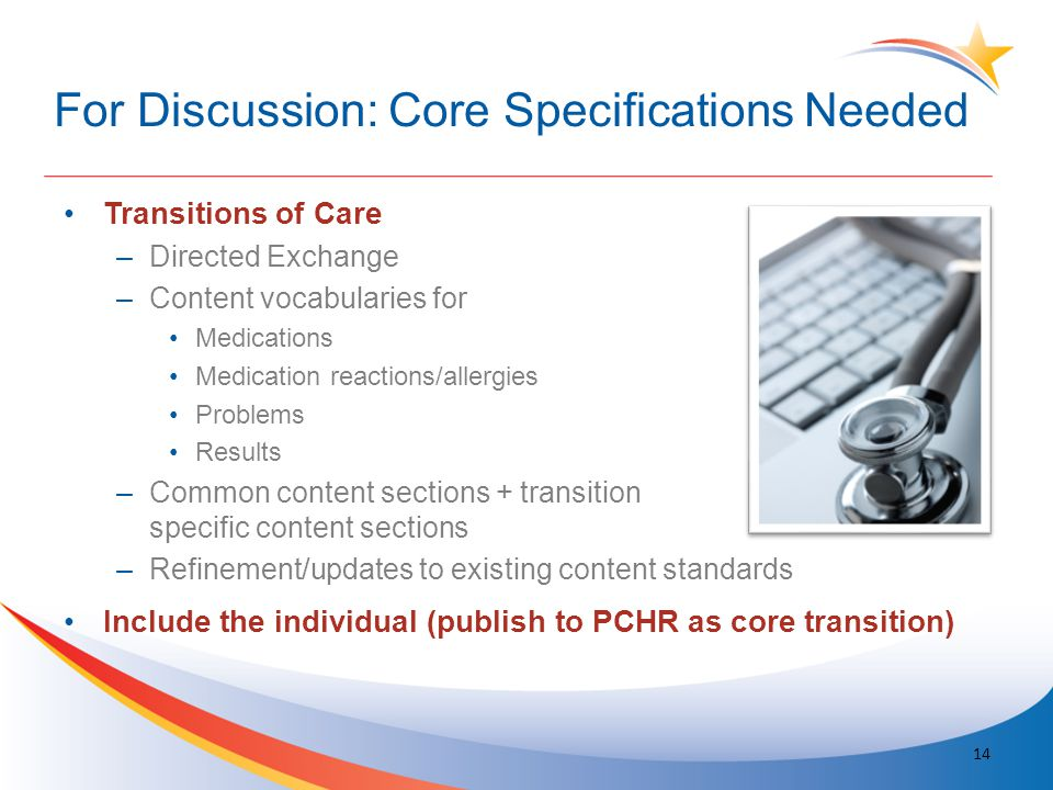 For Discussion: Core Specifications Needed Transitions of Care –Directed Exchange –Content vocabularies for Medications Medication reactions/allergies