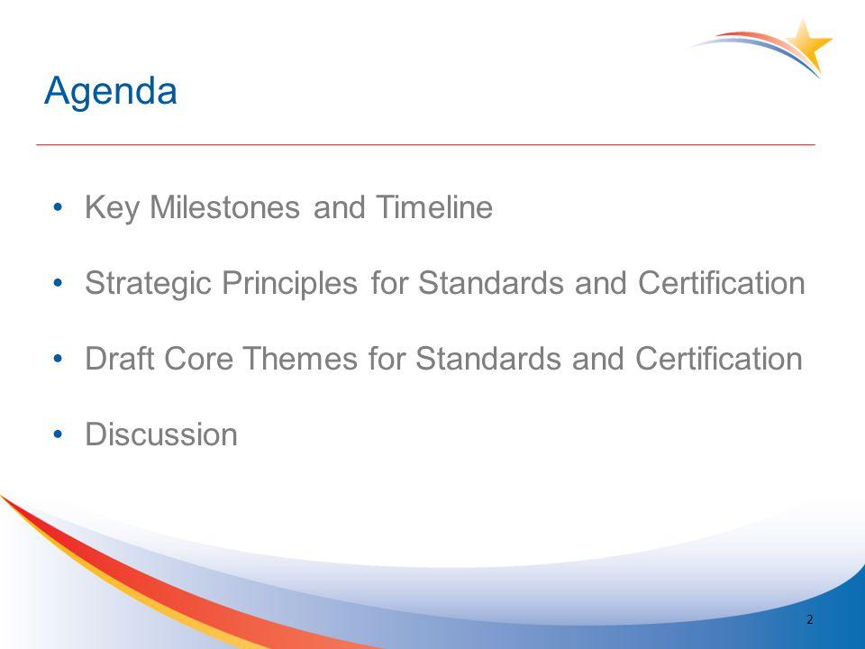Agenda Key Milestones and Timeline Strategic Principles for Standards and Certification Draft Core Themes for Standards and Certification Discussion 2