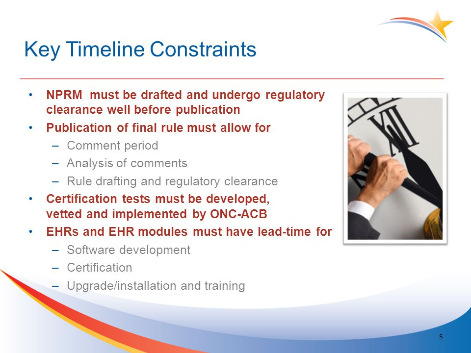 Key Timeline Constraints NPRM must be drafted and undergo regulatory clearance well before publication Publication of final rule must allow for –Comme