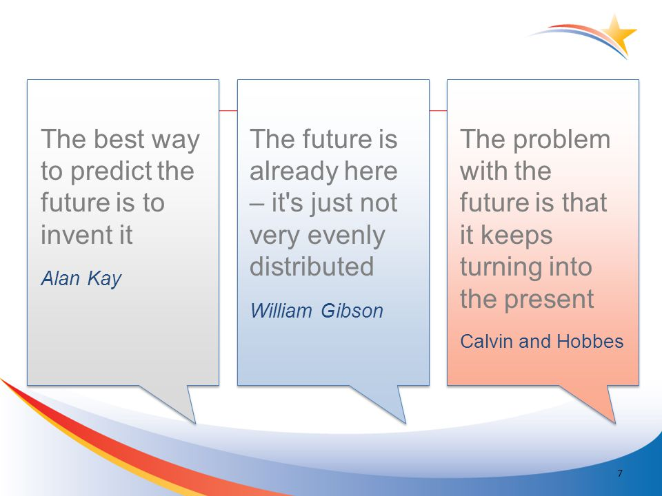 The best way to predict the future is to invent it Alan Kay 7 The future is already here – it s just not very evenly distributed William Gibson The problem with the future is that it keeps turning into the present Calvin and Hobbes Quotes