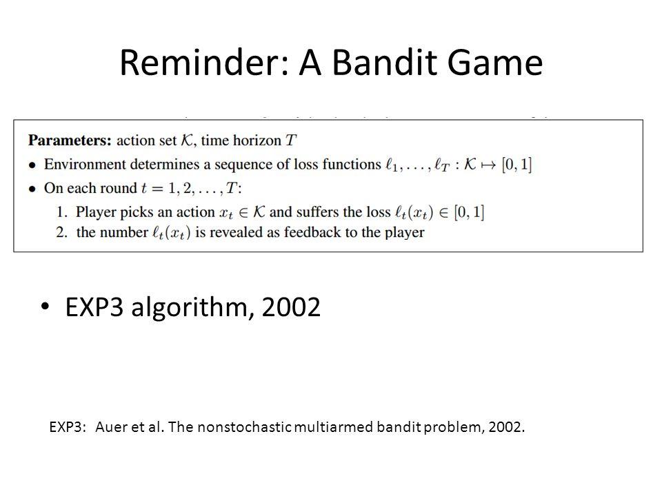 Reminder: A Bandit Game EXP3 algorithm, 2002 EXP3: Auer et al.