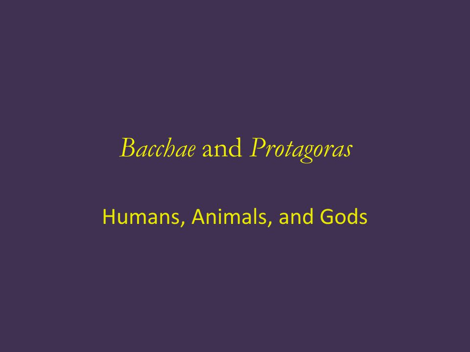 Bacchae and Protagoras Humans, Animals, and Gods