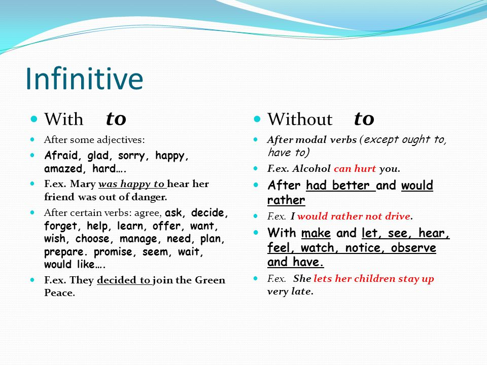 Infinitive With to After some adjectives: Afraid, glad, sorry, happy, amazed, hard….