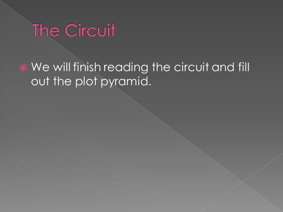  We will finish reading the circuit and fill out the plot pyramid.
