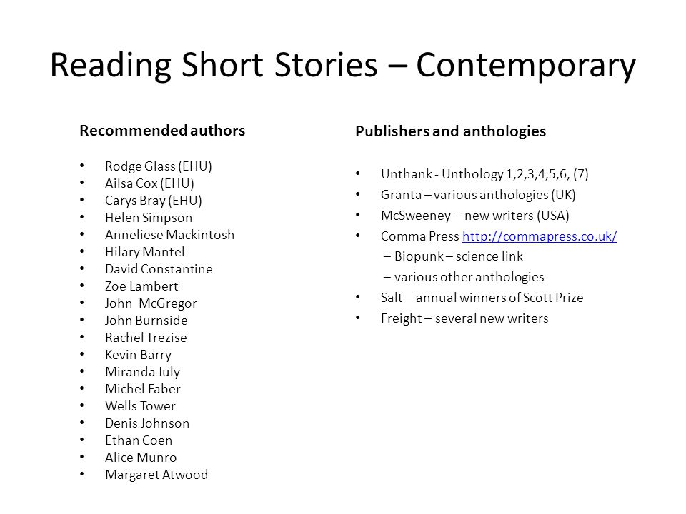 Reading Short Stories – Contemporary Recommended authors Rodge Glass (EHU) Ailsa Cox (EHU) Carys Bray (EHU) Helen Simpson Anneliese Mackintosh Hilary Mantel David Constantine Zoe Lambert John McGregor John Burnside Rachel Trezise Kevin Barry Miranda July Michel Faber Wells Tower Denis Johnson Ethan Coen Alice Munro Margaret Atwood Publishers and anthologies Unthank - Unthology 1,2,3,4,5,6, (7) Granta – various anthologies (UK) McSweeney – new writers (USA) Comma Press http://commapress.co.uk/http://commapress.co.uk/ – Biopunk – science link – various other anthologies Salt – annual winners of Scott Prize Freight – several new writers