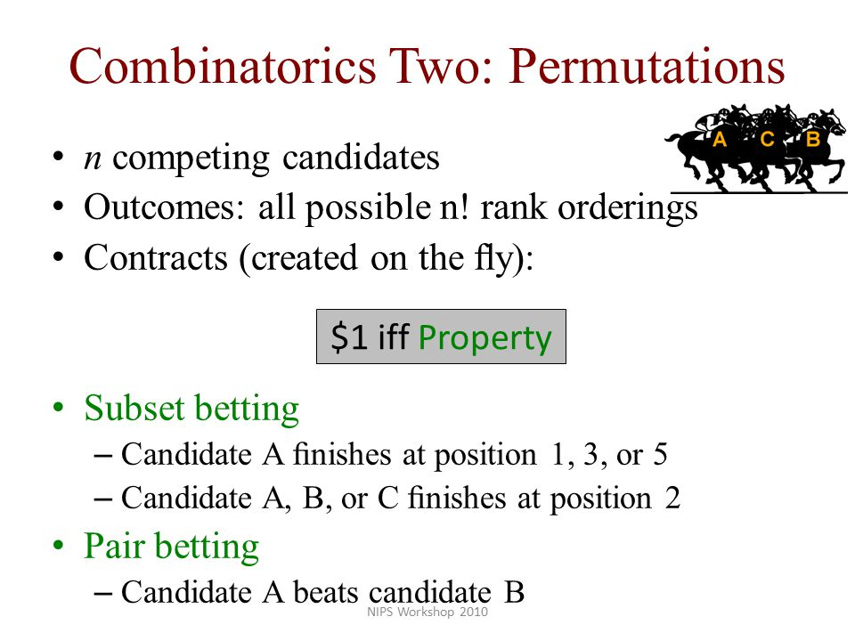 Combinatorics Two: Permutations n competing candidates Outcomes: all possible n.
