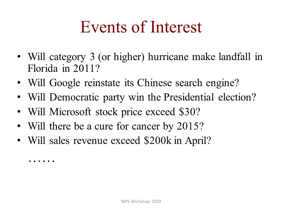Events of Interest Will category 3 (or higher) hurricane make landfall in Florida in 2011.