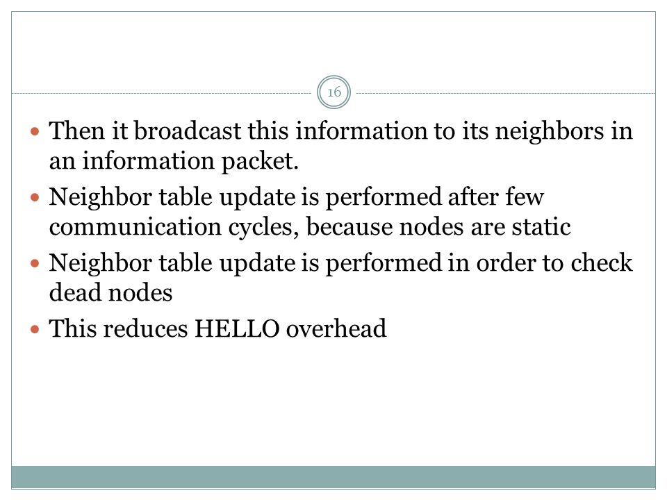 16 Then it broadcast this information to its neighbors in an information packet.