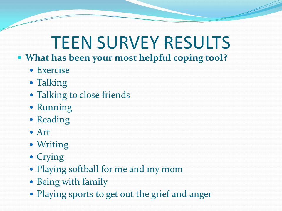 TEEN SURVEY RESULTS What has been your most helpful coping tool.