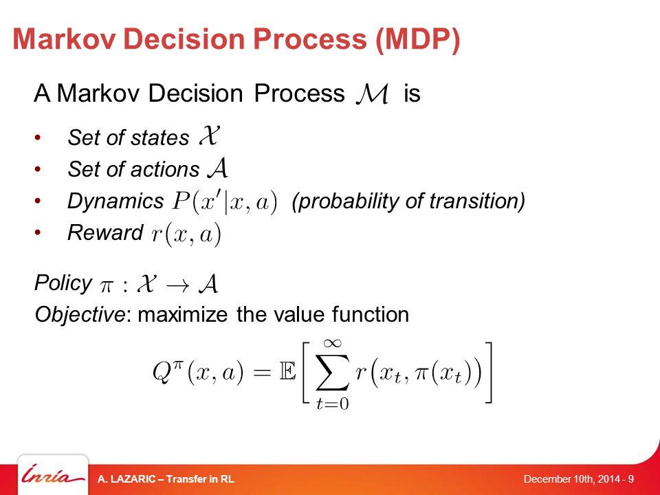 Markov Decision Process (MDP) December 10th, 2014 A.