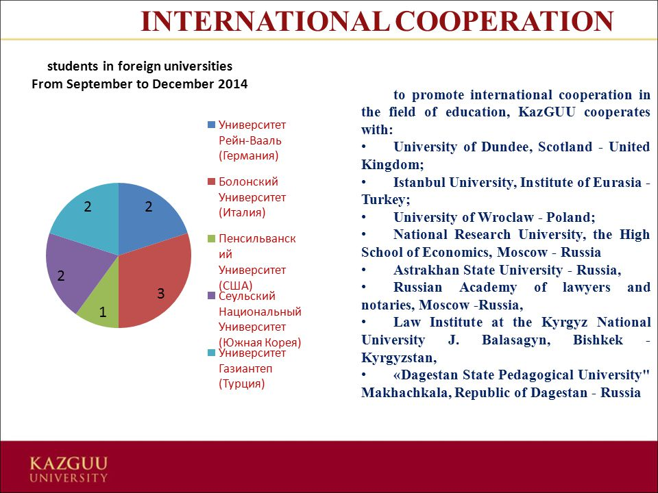 to promote international cooperation in the field of education, KazGUU cooperates with: University of Dundee, Scotland - United Kingdom; Istanbul Univ