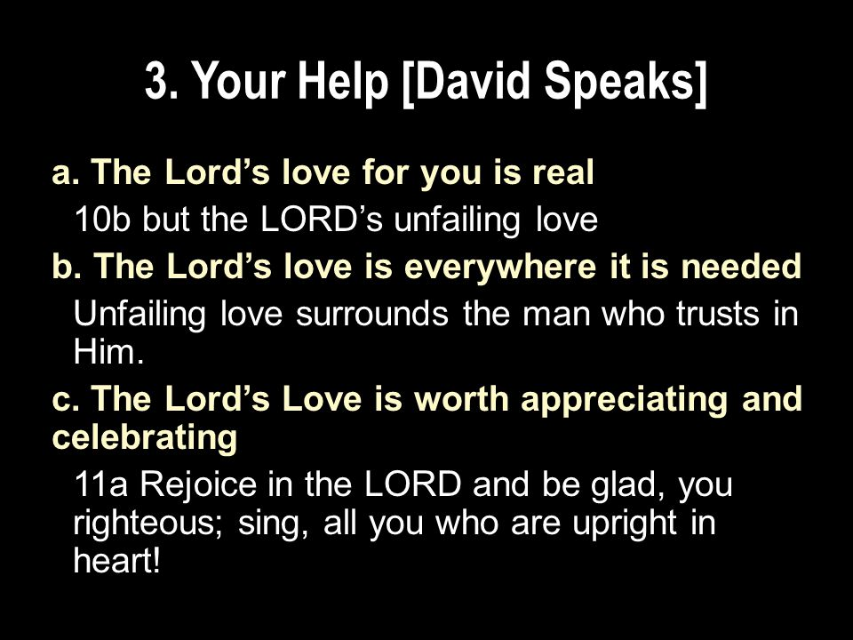 3. Your Help [David Speaks] a.
