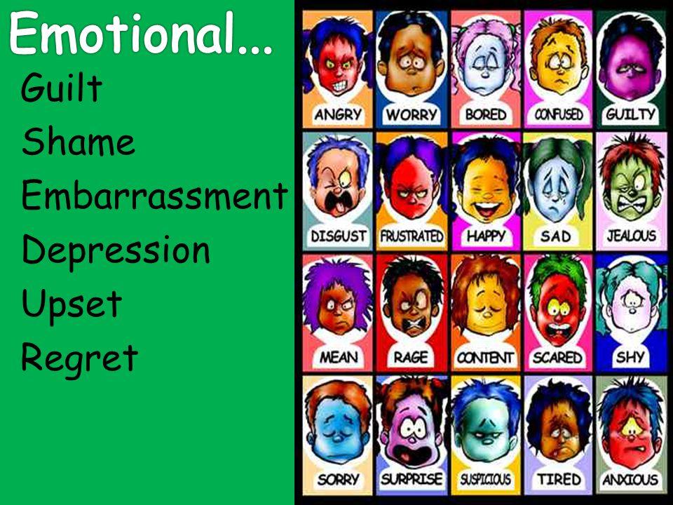 Guilt Shame Embarrassment Depression Upset Regret