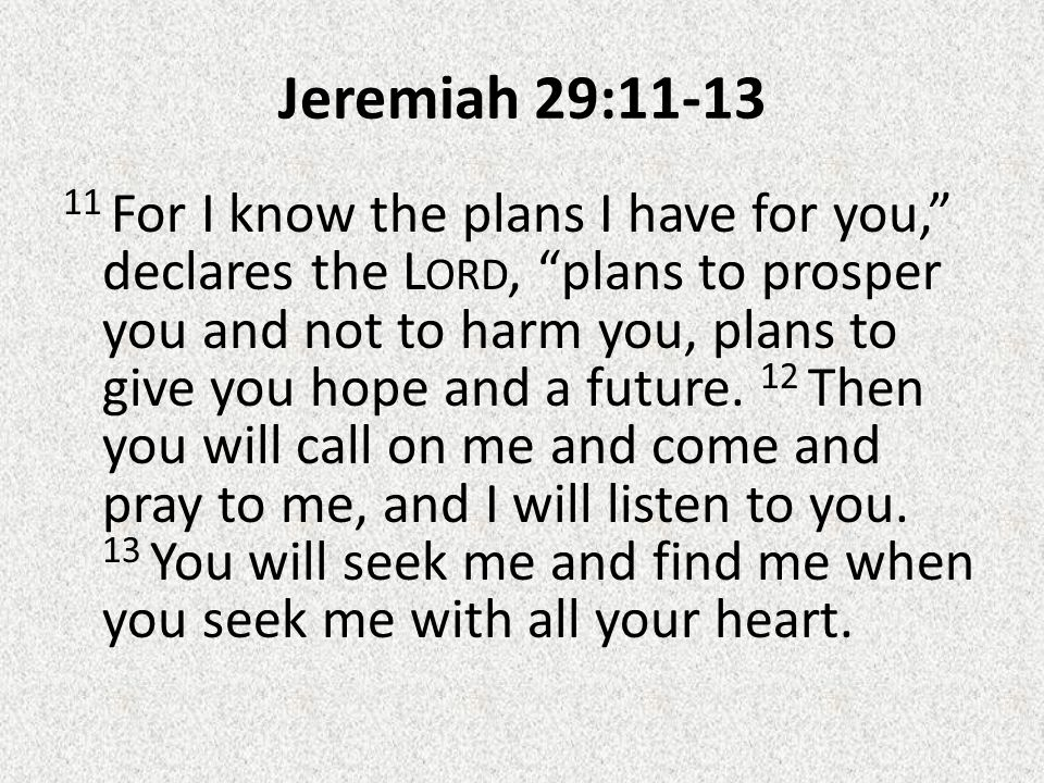 Jeremiah 29:11-13 11 For I know the plans I have for you, declares the L ORD, plans to prosper you and not to harm you, plans to give you hope and a future.