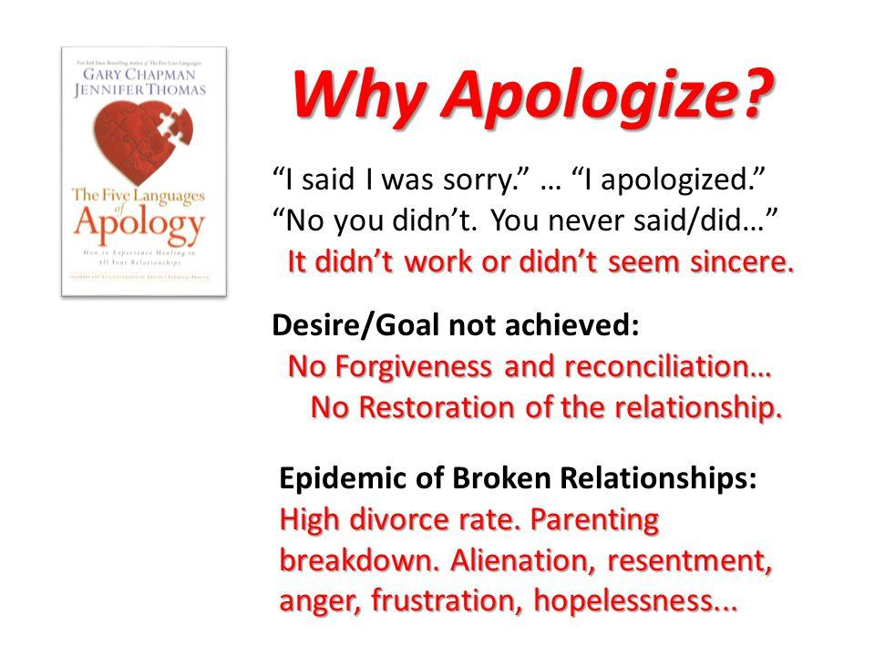 Why Apologize. I said I was sorry. … I apologized. No you didn't.