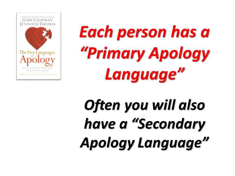Each person has a Primary Apology Language Often you will also have a Secondary Apology Language