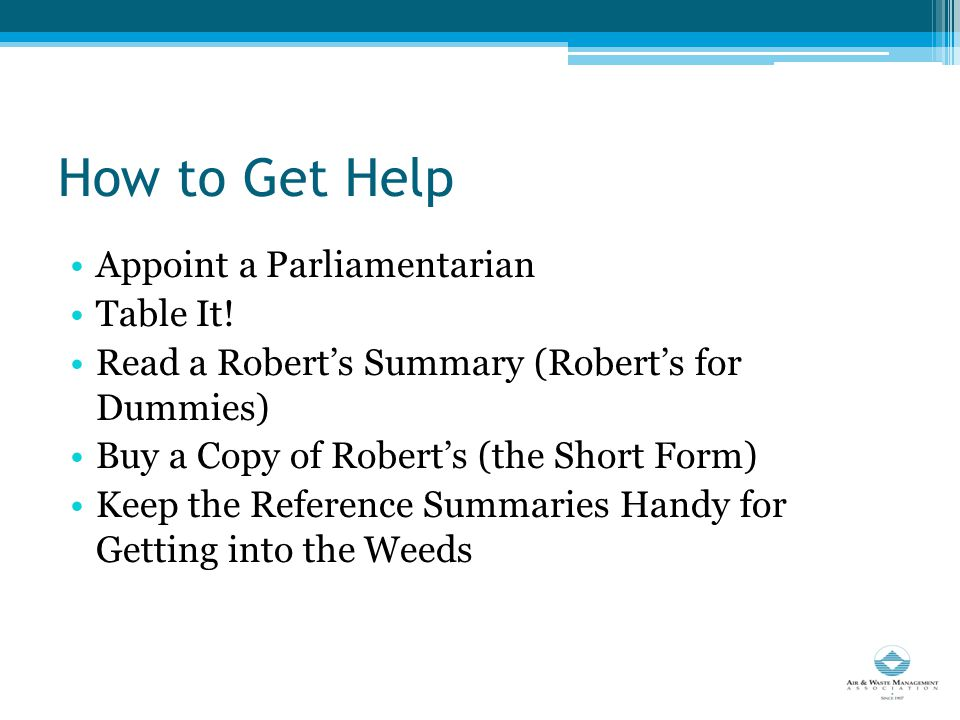 How to Get Help Appoint a Parliamentarian Table It.