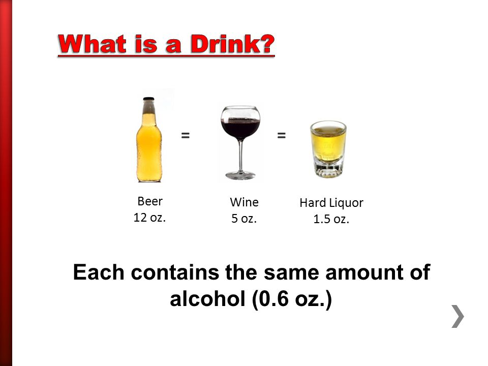 = = Beer 12 oz. Wine 5 oz. Hard Liquor 1.5 oz. Each contains the same amount of alcohol (0.6 oz.)