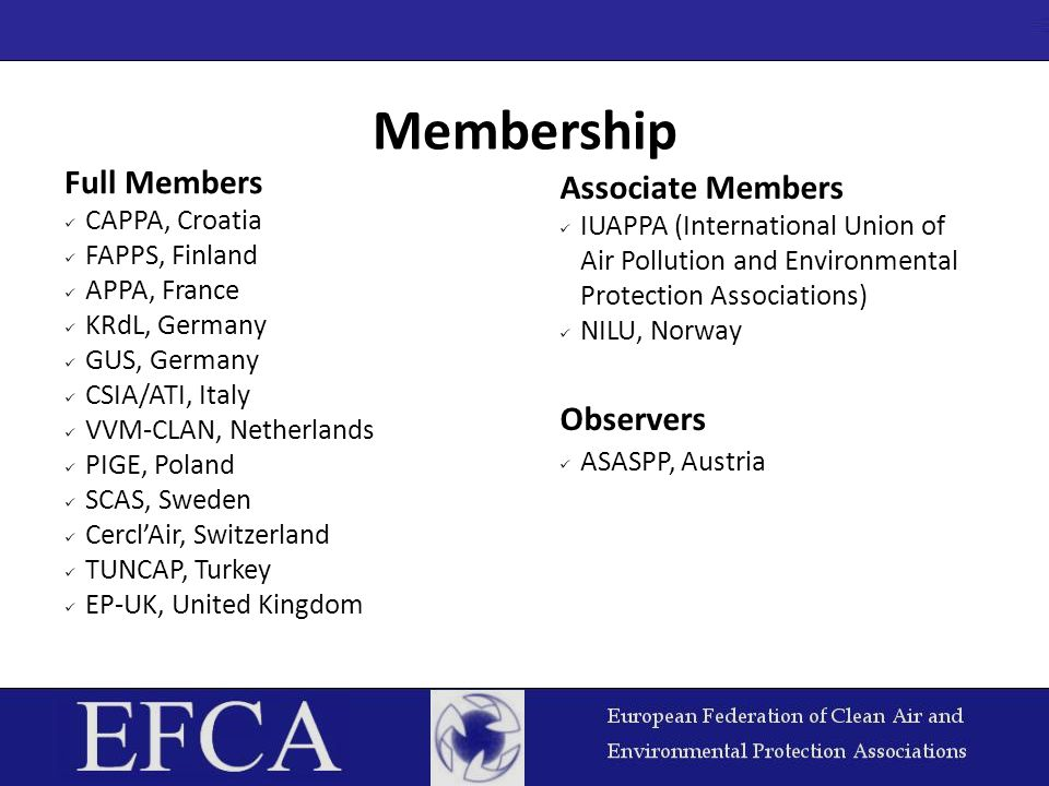 Membership Full Members CAPPA, Croatia FAPPS, Finland APPA, France KRdL, Germany GUS, Germany CSIA/ATI, Italy VVM-CLAN, Netherlands PIGE, Poland SCAS,