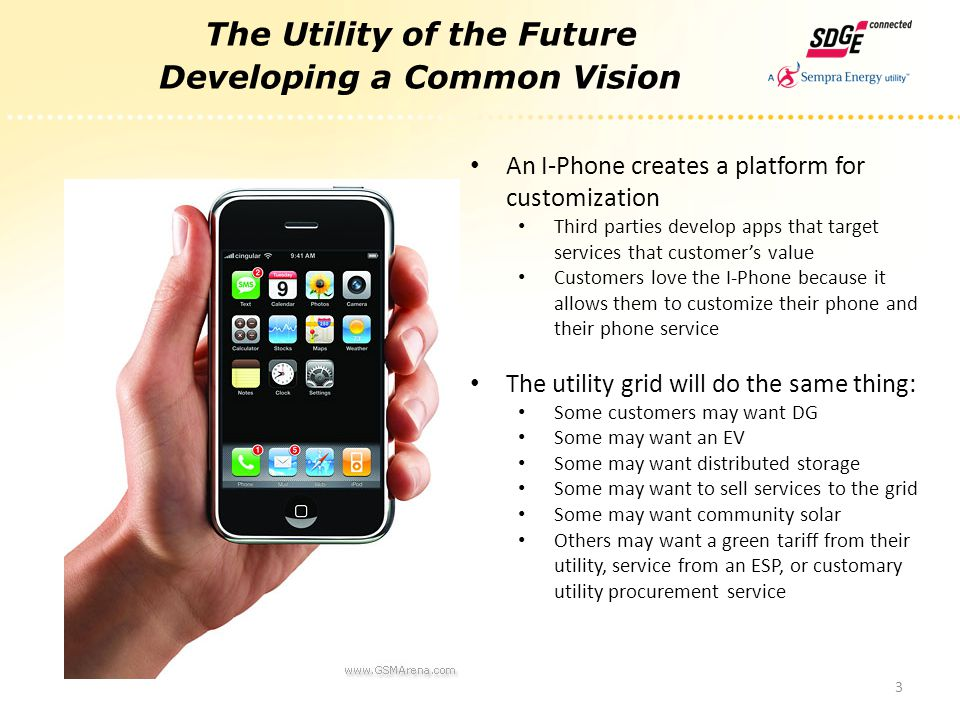 The Utility of the Future Developing a Common Vision 3 An I-Phone creates a platform for customization Third parties develop apps that target services