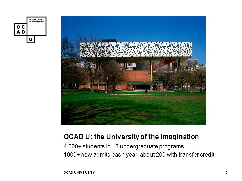 PATHWAYS TO OCAD U OCAD UNIVERSITY3 Portfolio-based admissions Advanced standing Course-by-course credit transfer Articulation agreements with colleges
