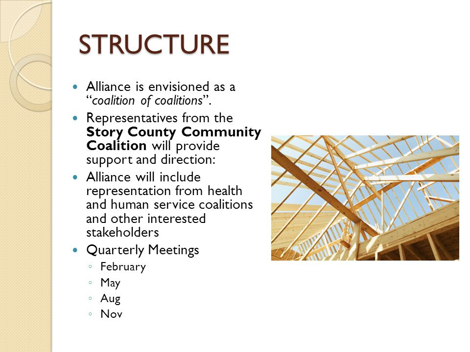 STRUCTURE Alliance is envisioned as a coalition of coalitions .