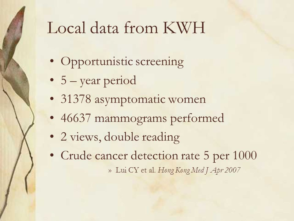Local data from KWH Opportunistic screening 5 – year period 31378 asymptomatic women 46637 mammograms performed 2 views, double reading Crude cancer detection rate 5 per 1000 »Lui CY et al.