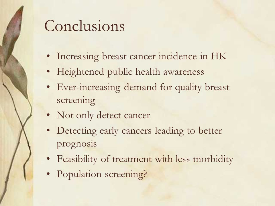 Conclusions Increasing breast cancer incidence in HK Heightened public health awareness Ever-increasing demand for quality breast screening Not only d