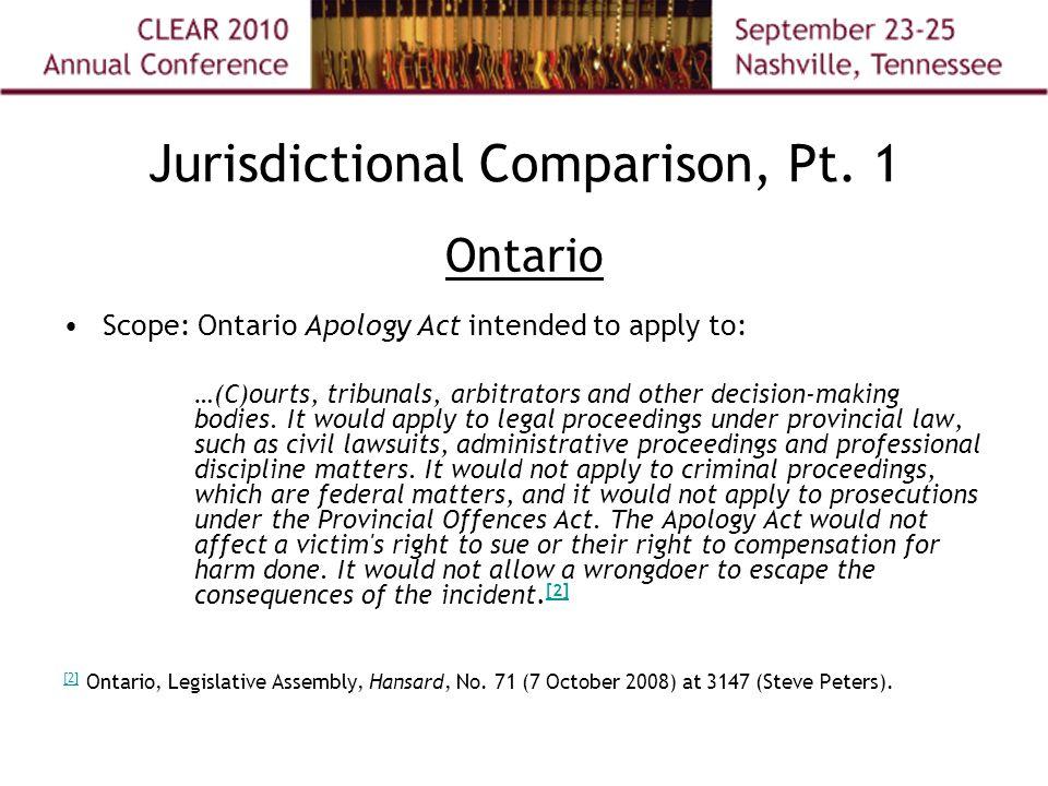 Jurisdictional Comparison, Pt.