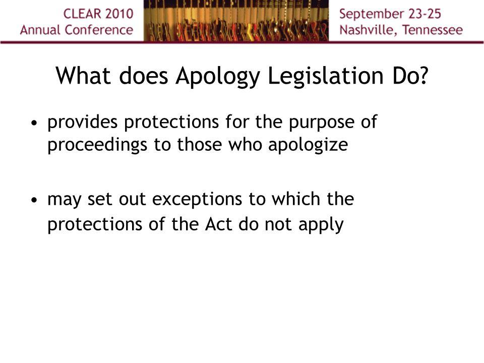 What does Apology Legislation Do.