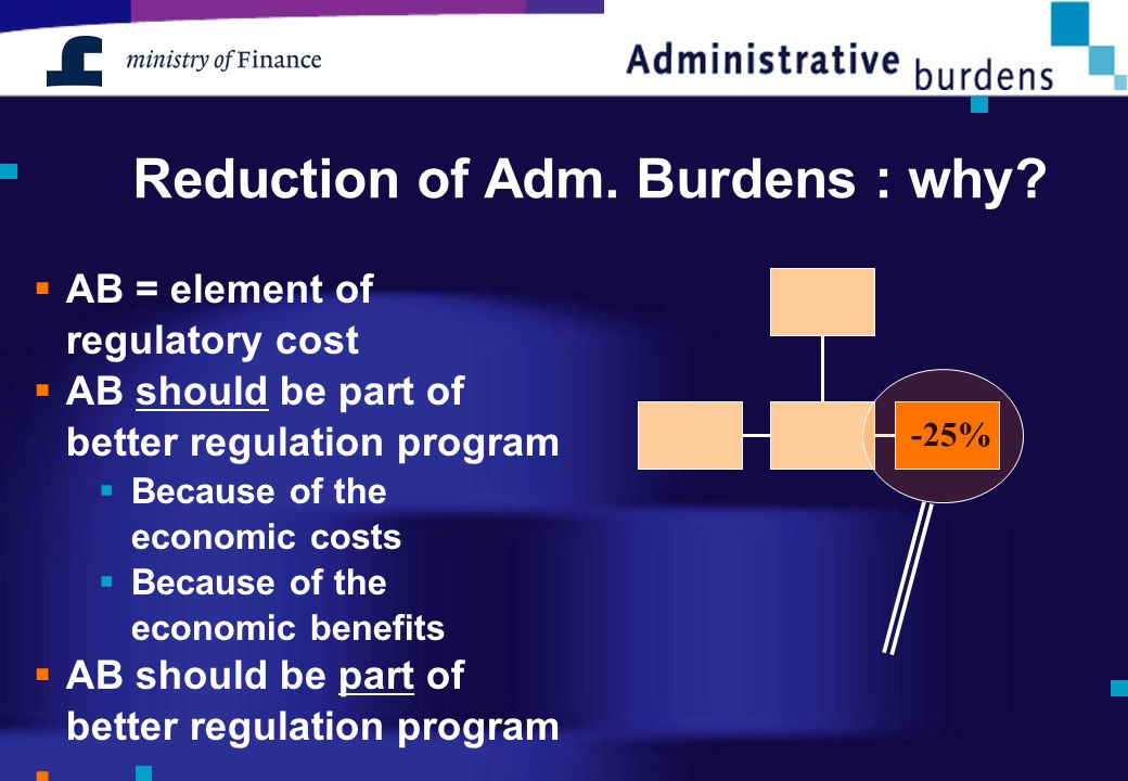 Reduction of Adm. Burdens : why?  AB = element of regulatory cost  AB should be part of better regulation program  Because of the economic costs 