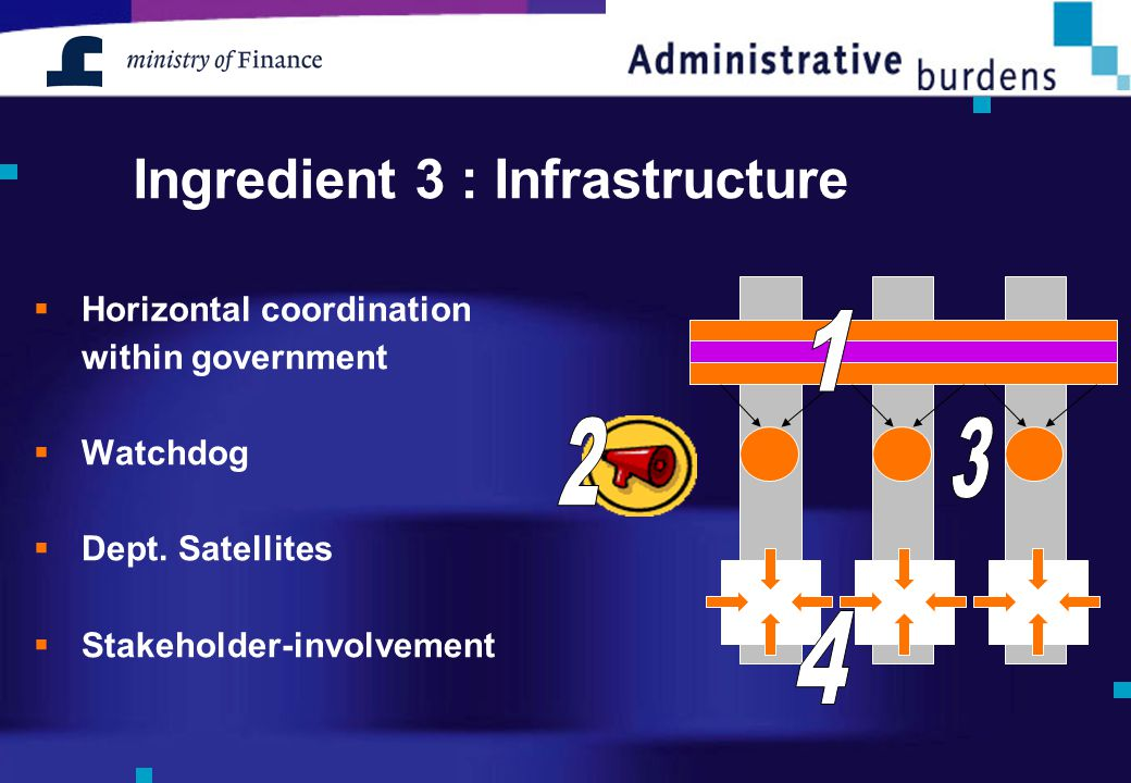 Ingredient 3 : Infrastructure  Horizontal coordination within government  Watchdog  Dept. Satellites  Stakeholder-involvement