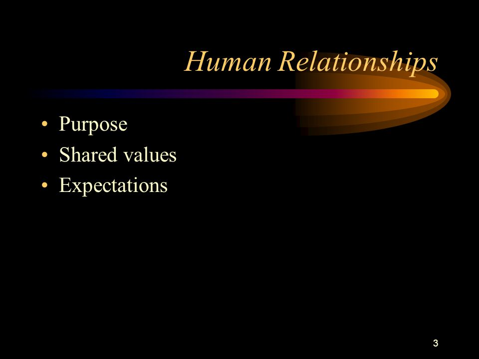 3 Human Relationships Purpose Shared values Expectations