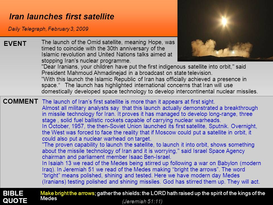 Iran launches first satellite The launch of Iran's first satellite is more than it appears at first sight.