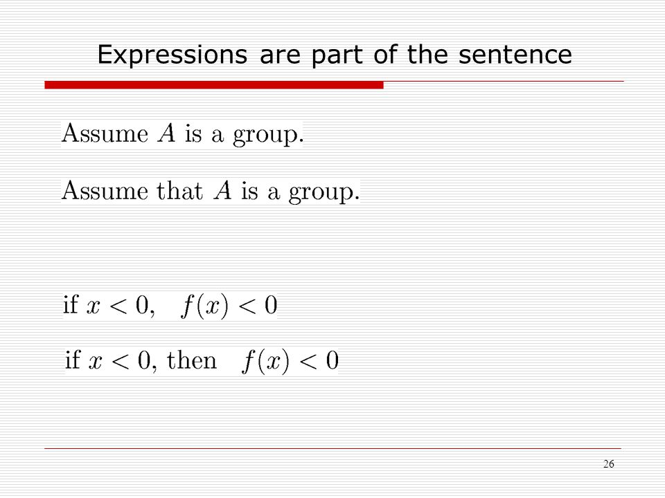 26 Expressions are part of the sentence