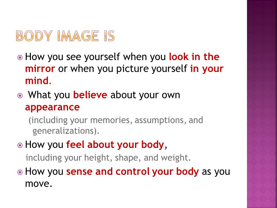  How you see yourself when you look in the mirror or when you picture yourself in your mind.  What you believe about your own appearance (including