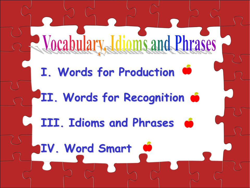 I.Words for Production II. Words for Recognition III. Idioms and Phrases IV. Word Smart