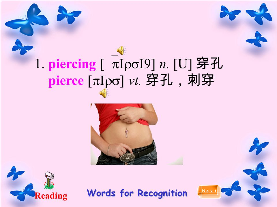 Reading Words for Recognition 1. piercing [`pIrsI9] n. [U] 穿孔 pierce [pIrs] vt. 穿孔,刺穿