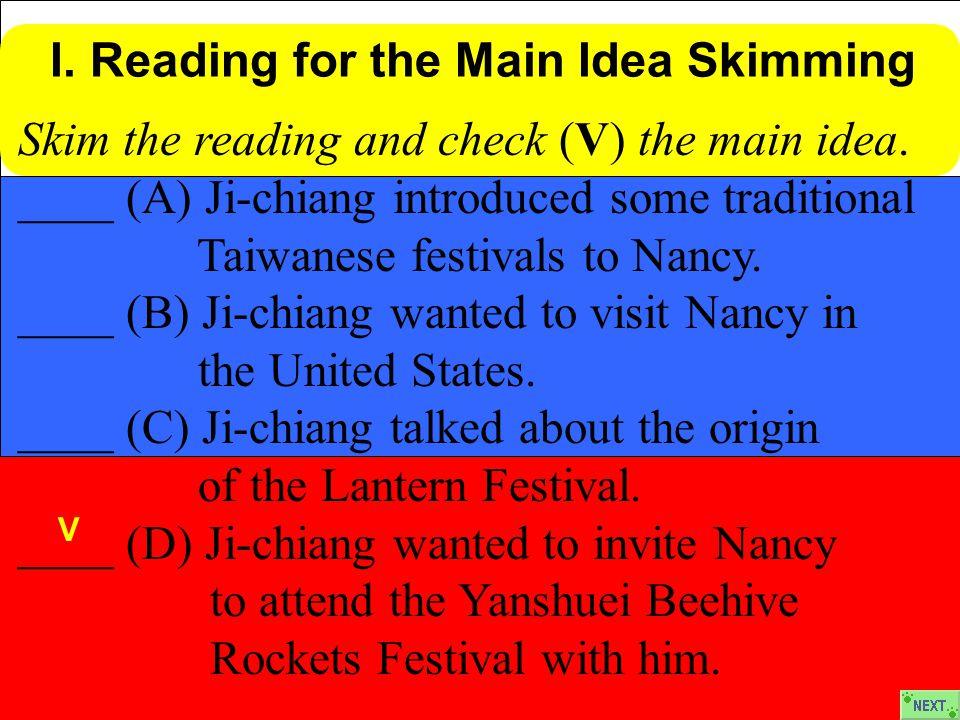 Skim the reading and check (V) the main idea.