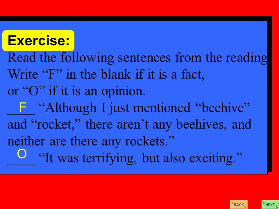 Exercise: Read the following sentences from the reading.