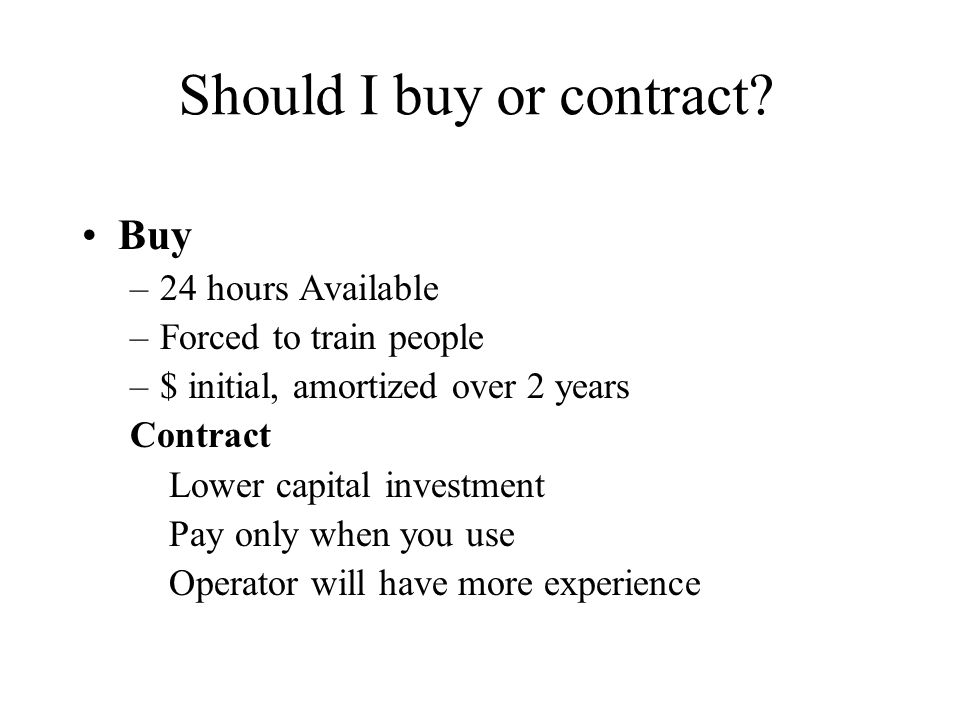 Should I buy or contract.