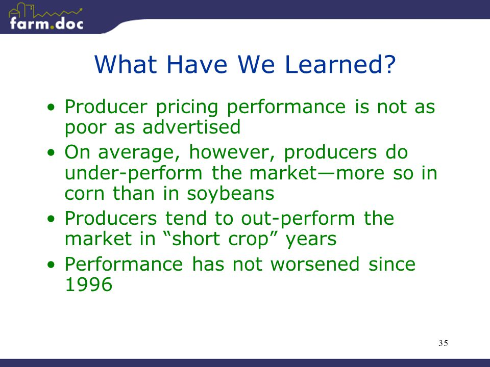 35 What Have We Learned? Producer pricing performance is not as poor as advertised On average, however, producers do under-perform the market—more so