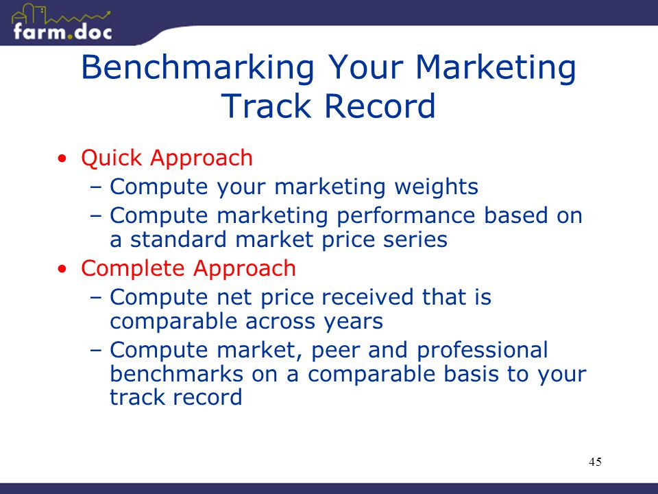 45 Benchmarking Your Marketing Track Record Quick Approach –Compute your marketing weights –Compute marketing performance based on a standard market price series Complete Approach –Compute net price received that is comparable across years –Compute market, peer and professional benchmarks on a comparable basis to your track record