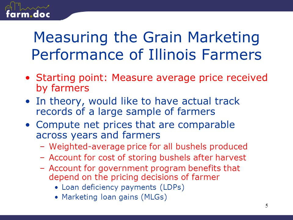 5 Measuring the Grain Marketing Performance of Illinois Farmers Starting point: Measure average price received by farmers In theory, would like to have actual track records of a large sample of farmers Compute net prices that are comparable across years and farmers –Weighted-average price for all bushels produced –Account for cost of storing bushels after harvest –Account for government program benefits that depend on the pricing decisions of farmer Loan deficiency payments (LDPs) Marketing loan gains (MLGs)