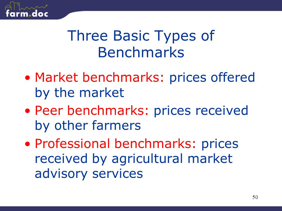 50 Three Basic Types of Benchmarks Market benchmarks: prices offered by the market Peer benchmarks: prices received by other farmers Professional benc