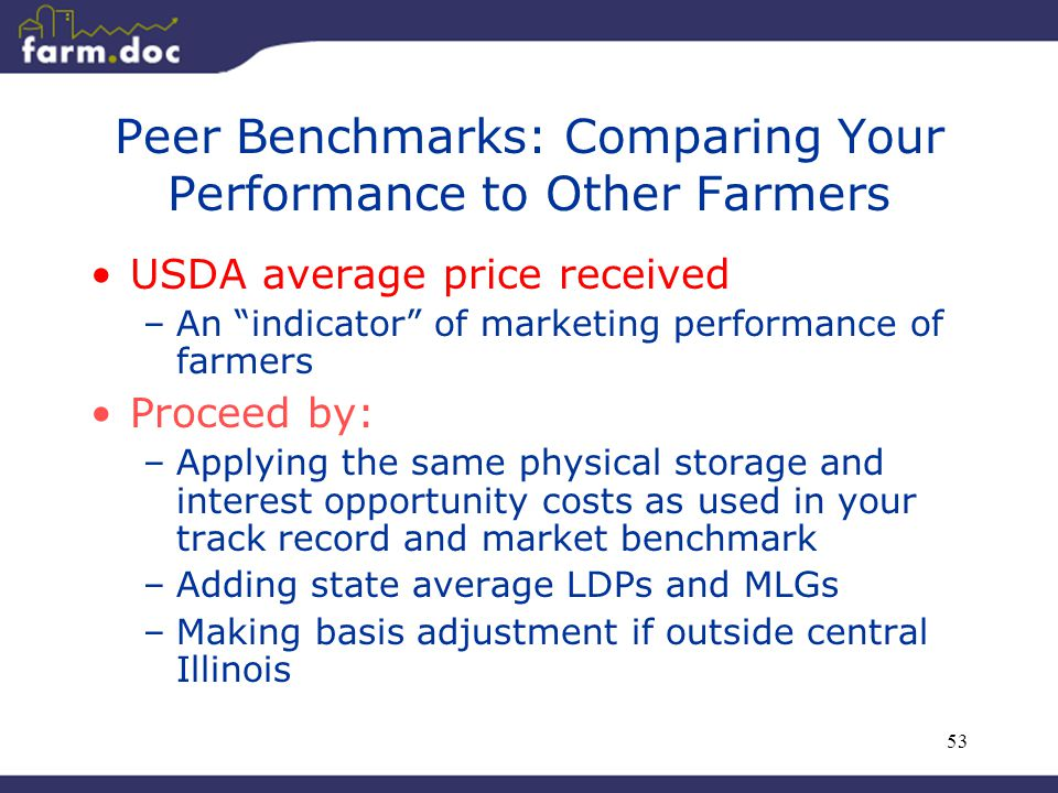 """53 Peer Benchmarks: Comparing Your Performance to Other Farmers USDA average price received –An """"indicator"""" of marketing performance of farmers Procee"""
